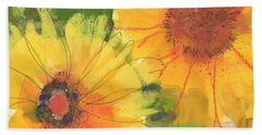 Big Sunflowers Watercolor And Pastel Painting Sf018 By Kmcelwaine Beach Sheet