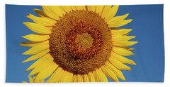 Sunflower And Blue Sky Beach Towel