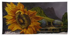 Sunflower And Book Beach Towel
