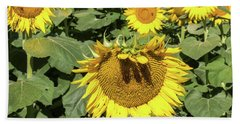 Sunflower Bangs Beach Towel