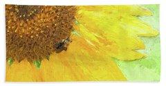 Sunflower Bee Art Beach Towel