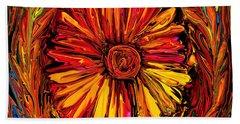 Sunflower Emblem Beach Towel