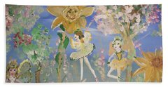 Sunflower Fairies Beach Sheet by Judith Desrosiers