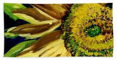 Beach Towel featuring the painting Sunflower Glow by Patti Ferron