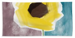 Sunflower In A Small Vase- Art By Linda Woods Beach Towel