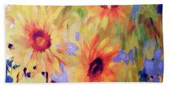 Sunflower Joy Watercolor Beach Towel by Sandi OReilly