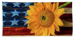Sunflower On American Flag Beach Towel