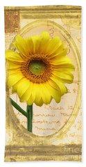 Sunflower On Vintage Postcard Beach Towel by Nina Silver