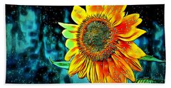 Beach Towel featuring the digital art Sunflower Rain by Pennie McCracken