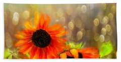 Sunflower Rain Beach Towel