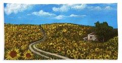 Beach Towel featuring the painting Sunflower Road by Anastasiya Malakhova