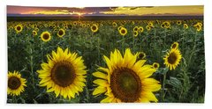 Sunflower Sunset Beach Towel by Kristal Kraft