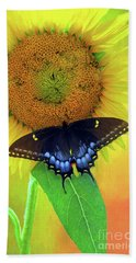 Sunflower With Company Beach Towel by Marion Johnson