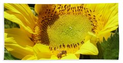 Sunflower With Honeybee Beach Towel