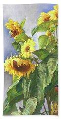 Sunflowers After The Rain Beach Sheet
