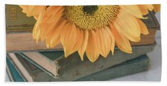 Beach Towel featuring the photograph Sunflowers And Books by Kim Hojnacki