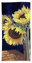 Sunflowers And Light Beach Sheet