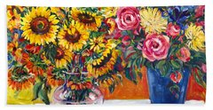 Sunflowers And Plums Beach Sheet by Alexandra Maria Ethlyn Cheshire