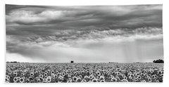 Sunflowers And Rain Showers Beach Sheet