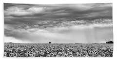 Sunflowers And Rain Showers Beach Sheet by Penny Meyers