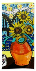 Sunflowers And Starry Memphis Nights Beach Towel