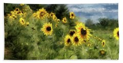 Sunflowers Bowing And Waving Beach Sheet