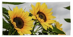 Sunflowers Brighten A Cloudy Day Beach Towel