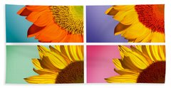 Sunflowers Collage Beach Sheet by Mark Ashkenazi