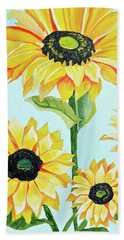 Sunflowers  Beach Sheet by Donna Blossom
