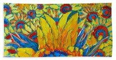 Sunflowers Field In Sunrise Light Beach Sheet