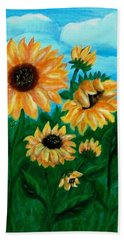 Beach Towel featuring the painting Sunflowers For Mom by Sonya Nancy Capling-Bacle