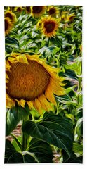 Sunflowers Glaze Beach Towel