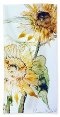 Beach Towel featuring the painting Sunflowers II by Monique Faella