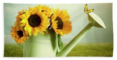 Sunflowers In A Watering Can Beach Sheet