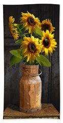Sunflowers In Copper Milk Can Beach Sheet