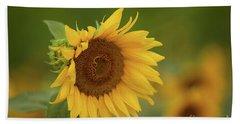 Sunflowers In Field Beach Towel