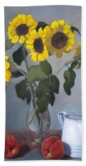 Sunflowers In Glass Vase With Peaches Beach Sheet