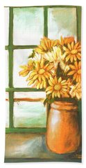 Beach Towel featuring the painting Sunflowers In Window by Winsome Gunning