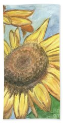 Beach Sheet featuring the painting Sunflowers by Jacqueline Athmann