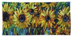 Sunflowers In A Vase Palette Knife Painting Beach Towel
