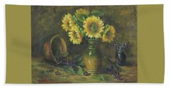 Beach Towel featuring the painting Sunflowers by Katalin Luczay