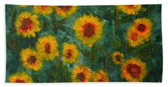 Sunflowers Beach Towel by Lynne Reichhart