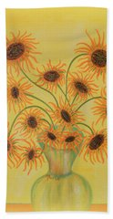 Beach Towel featuring the painting Sunflowers by Marie Schwarzer
