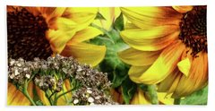 Sunflowers Beach Sheet by Mikki Cucuzzo