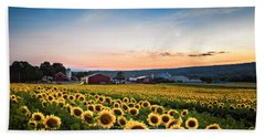 Beach Towel featuring the photograph Sunflowers, Moon And Stars by Eduard Moldoveanu