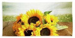 Sunflowers On A Table Beach Sheet