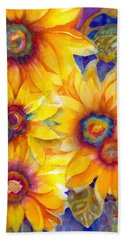 Sunflowers On Blue II Beach Sheet