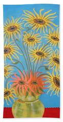 Beach Towel featuring the painting Sunflowers On Blue by Marie Schwarzer