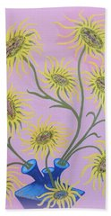 Sunflowers On Pink Beach Towel by Marie Schwarzer