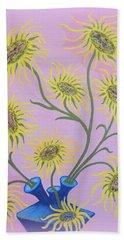 Sunflowers On Pink Beach Sheet